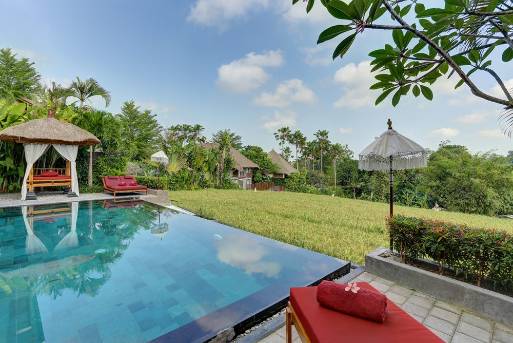 relaxing at the red sundeck facing the pool and the rice fields viewu