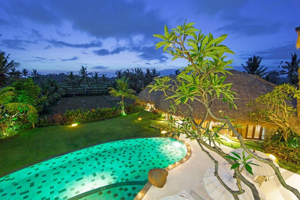 villa omah padi ubud pool with a view
